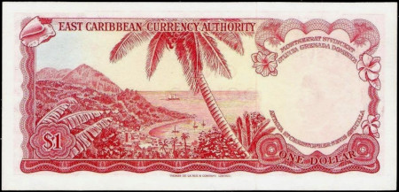 East Caribbean States Paper Money 1 Dollar 1965
