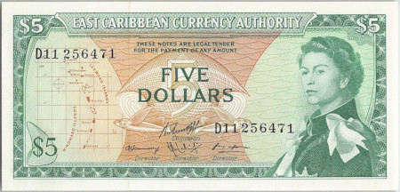 East Caribbean States Paper Money 5 Dollars 1965