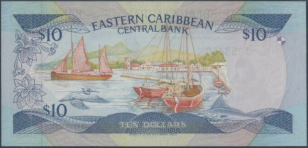 East Caribbean States Paper Money 10 Dollars 1985