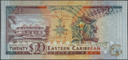 East Caribbean States Paper Money 20 Dollars 1993