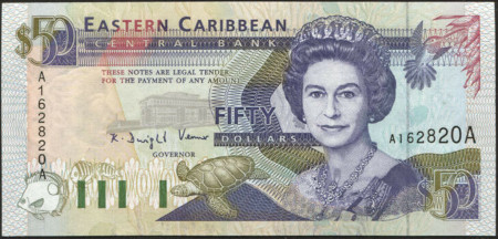 East Caribbean States Paper Money 50 Dollars 1993