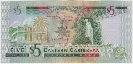 East Caribbean States Paper Money 5 Dollars 2003