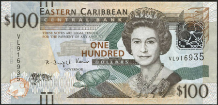East Caribbean States Paper Money 100 Dollars 2012