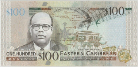East Caribbean States Paper Money 100 Dollars 2015