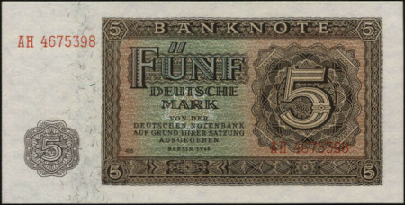 Germany DDR Paper Money 5 Mark 1948