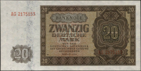 Germany DDR Paper Money 20 Mark 1948
