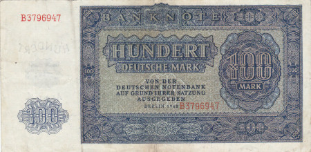 Germany DDR Paper Money 100 Mark 1948