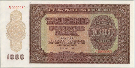 Germany DDR Paper Money 1000 Mark 1948