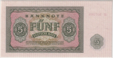 Germany DDR Paper Money 5 Mark 1955