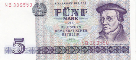Germany DDR Paper Money 5 Marks 1975