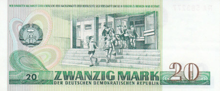 Germany DDR Paper Money 20 Marks 1975