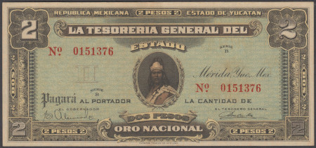 Mexico Paper Money 2 Pesos 1916
