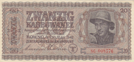 Ukraine Paper Money 20 Karbowanez 1942